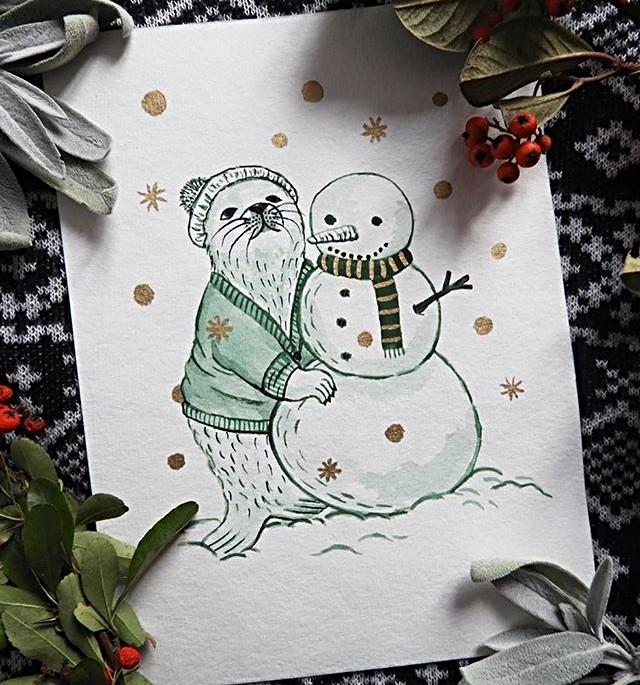 Harp Seal & Snowman
