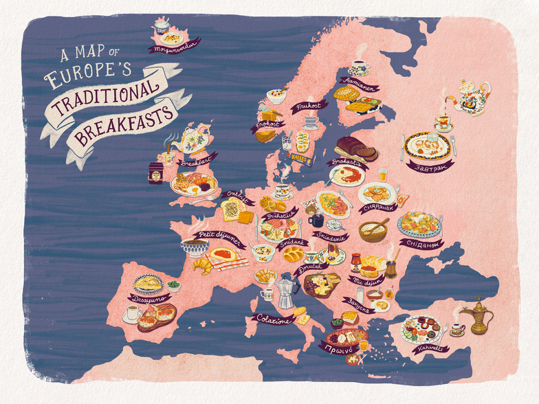 Map of Europe's Traditional Breakfasts