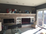 Walls, mantle and shelving painted.