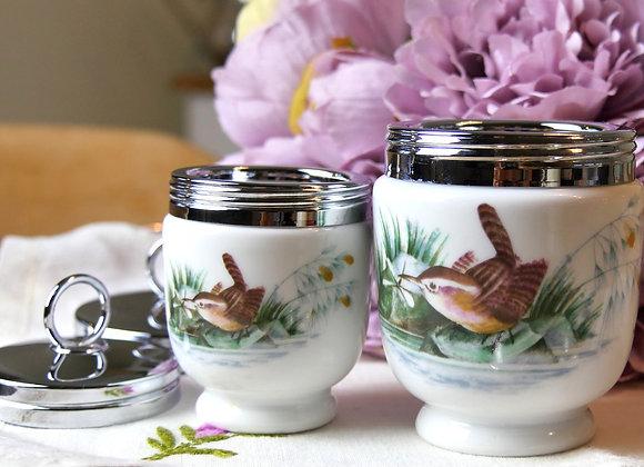Sold *送料無料* 可愛らしい小鳥柄 朝食のテーブルを美味しく彩るエッグコドラー S&Mサイズ二つ組セット ロイヤルウースター社