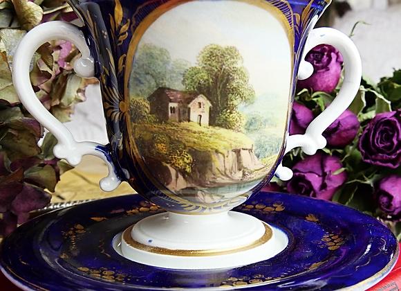 <値下げしました> *送料無料* ロイヤルクラウンダービー ポーセリン チョコレートカップ アンド ソーサー 風景画