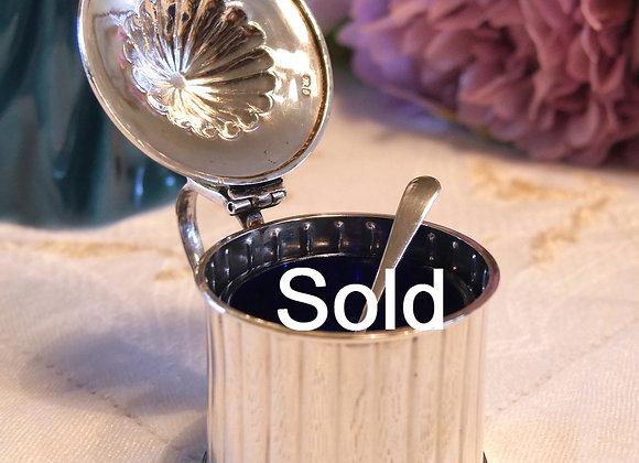 訳あり35% オフ *送料無料* 純銀 マスタードポット 1892年製 マスタードスプーン付き