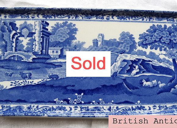 Sold *送料無料* アールデコ コープランド オールドスポード ブルーイタリアン 長方形サンドイッチ プレート 36cm 1930年代 *難あり
