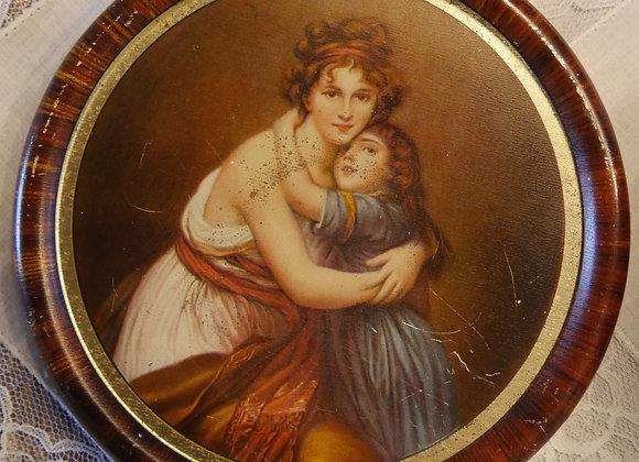 *送料無料* 母娘の抱擁 肖像画 ブリキ缶