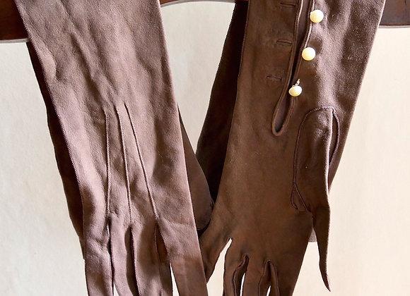 Sold  *送料無料* ヴィンテージ ボタン付き 革製 長手袋