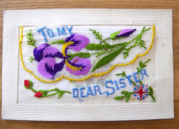戦場から愛する妹へ送ったカード 退役軍人への支援募金付き *送料無料* フランスから英国へ送られた シルクカード 「親愛なる妹へ」 1915年頃