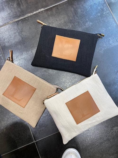 Pochette en lin garnis cuir