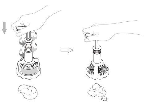 馬鈴薯搗泥器 產品研發改良 商品設計 模型製作 量產 台灣產品設計 Desain pengembangan produk Taiwan