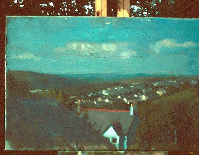 Oil on Canvas. Okehampton rooves.