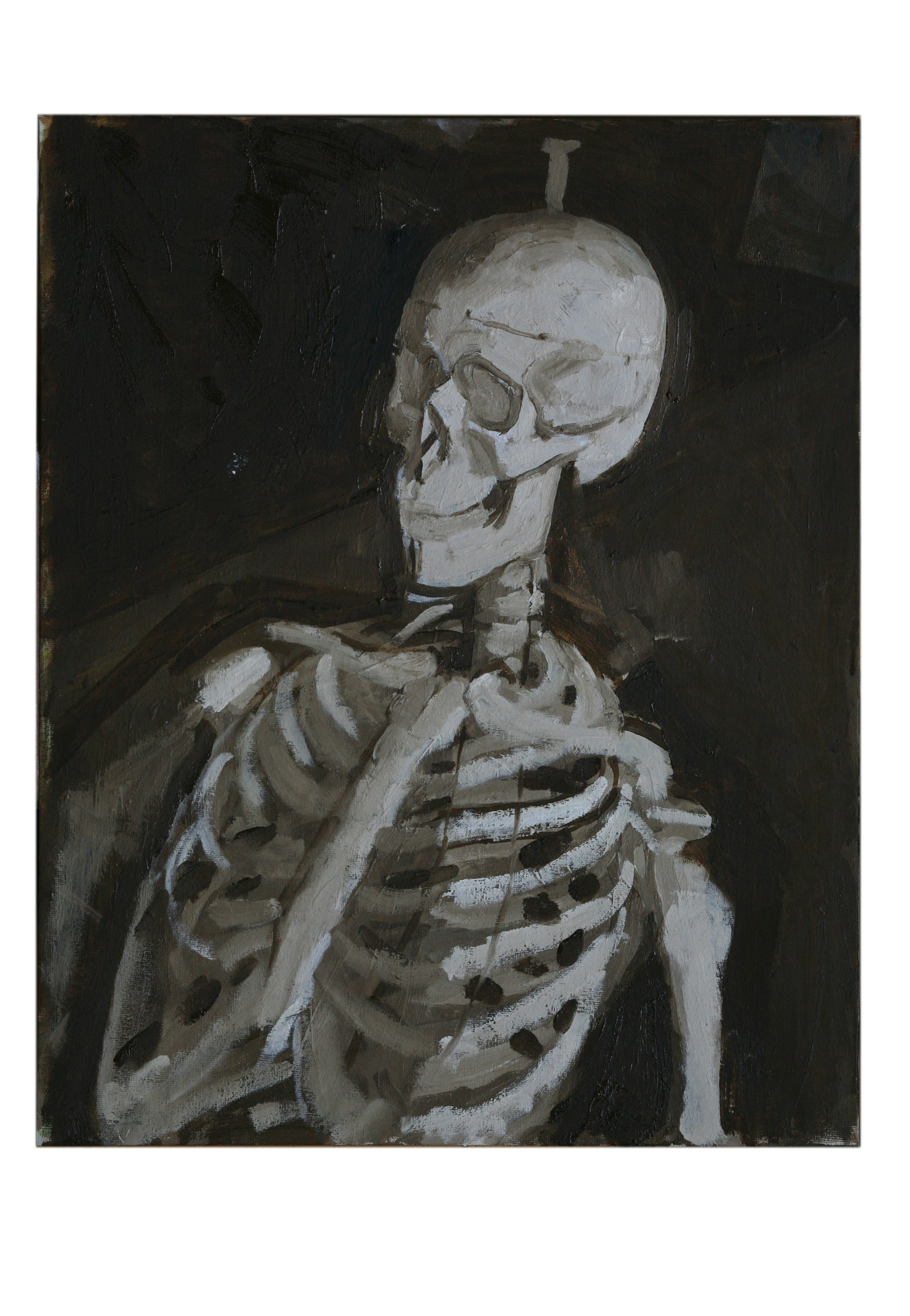 Oil on Canvas. Skeleton in the Studio 1
