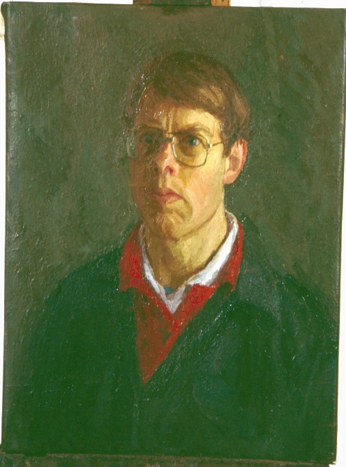Oil on Canvas. Self portrait  Red shirt.