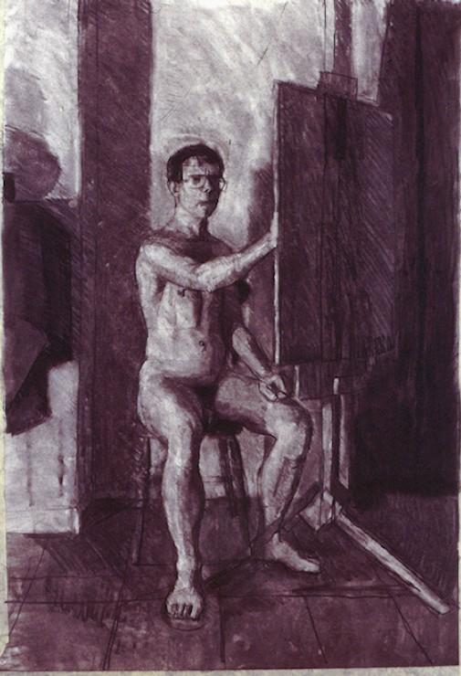 Charcoalon Paper. Self portrait.j