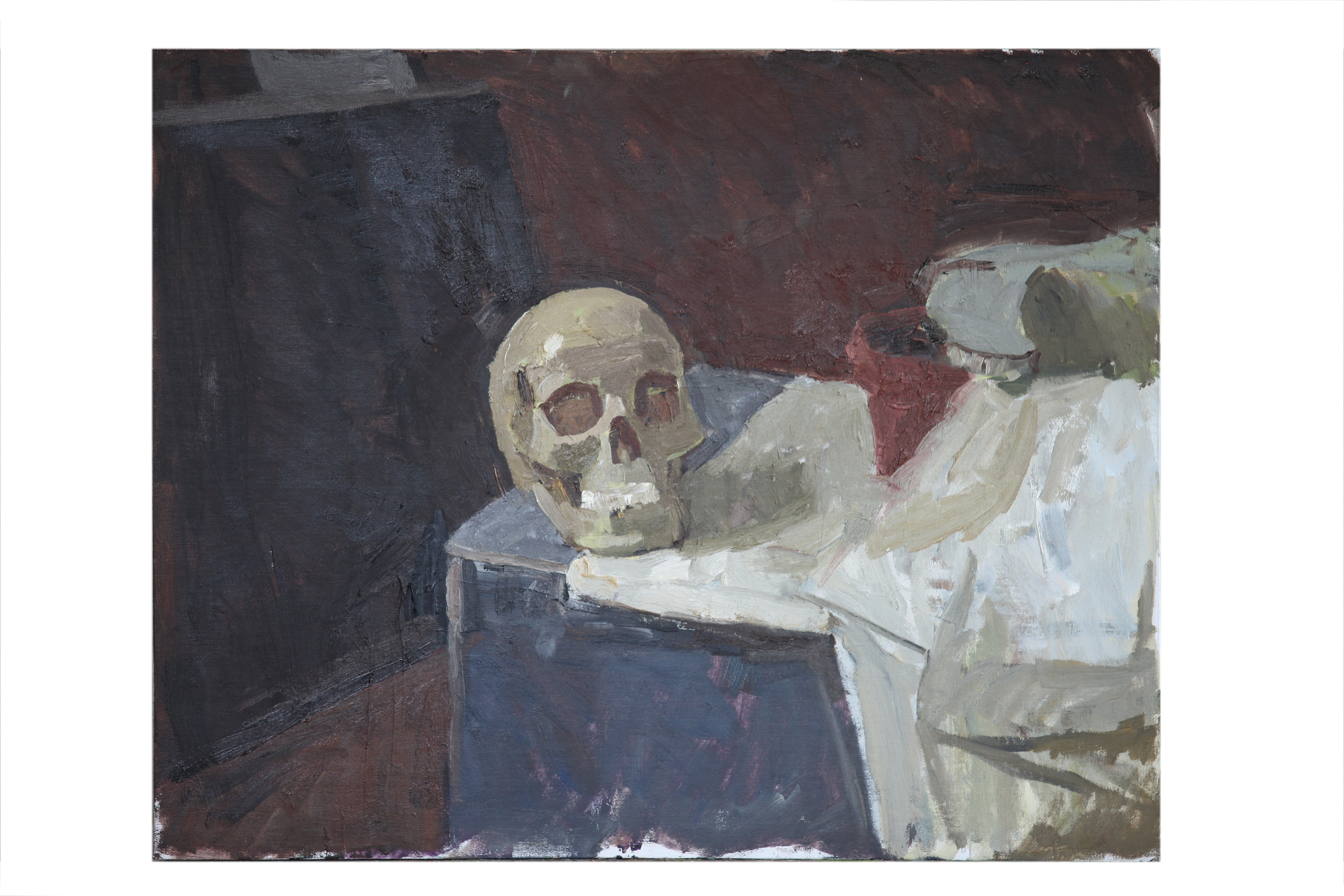 Skull and white cloth.