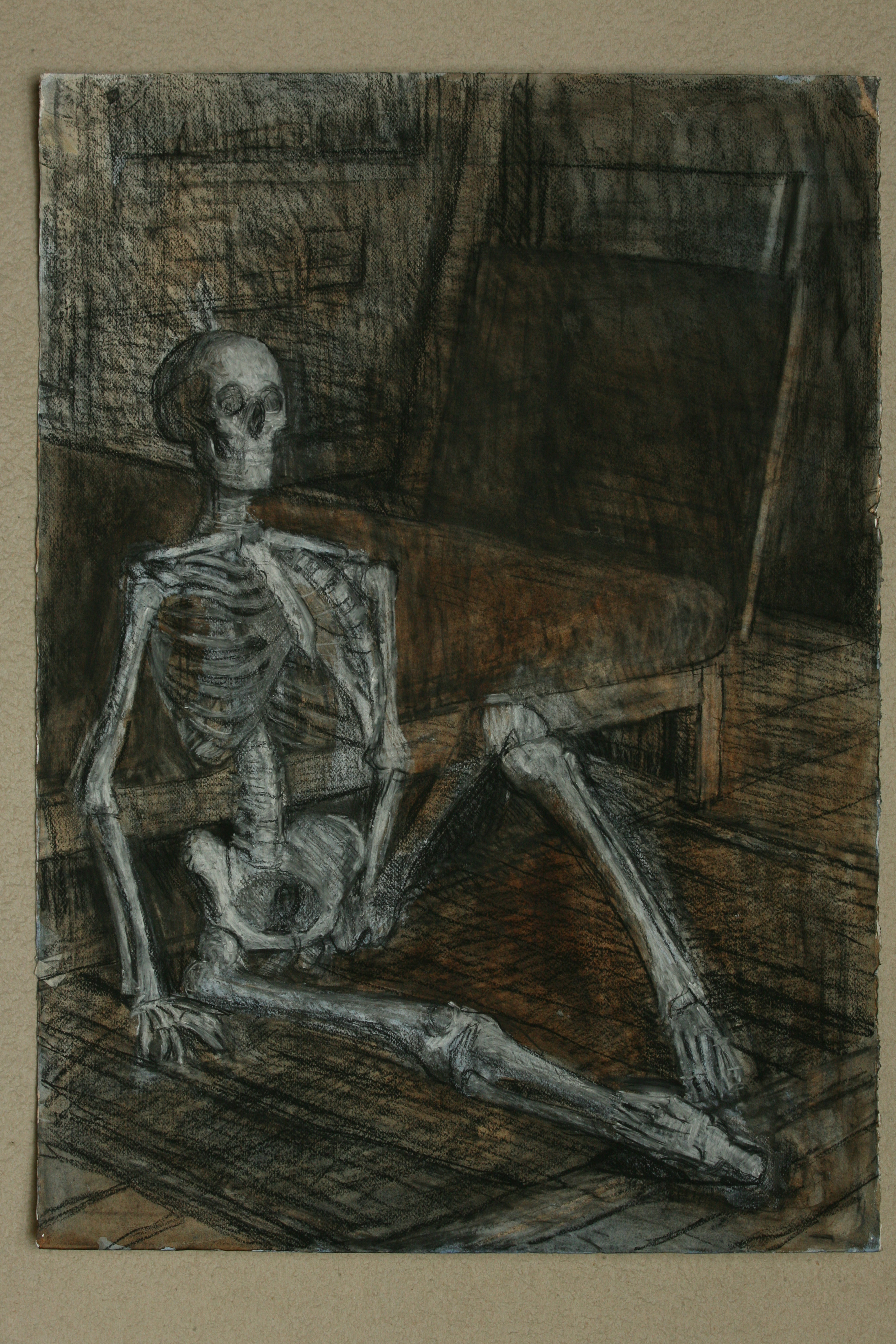 Oil pastel , Charcoal and Watercolour on paper. Skeleton in the Studio 3.