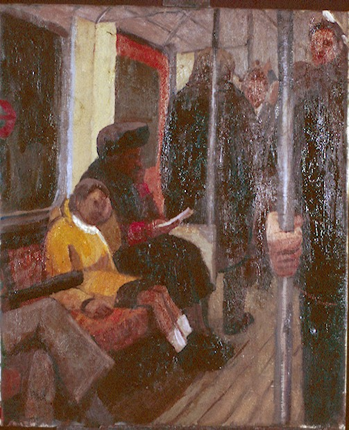 Oil on Canvas. Child on district line .  60x90cm