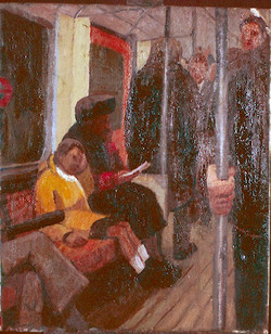 Oil on Canvas. Child on district line .  60x90cm