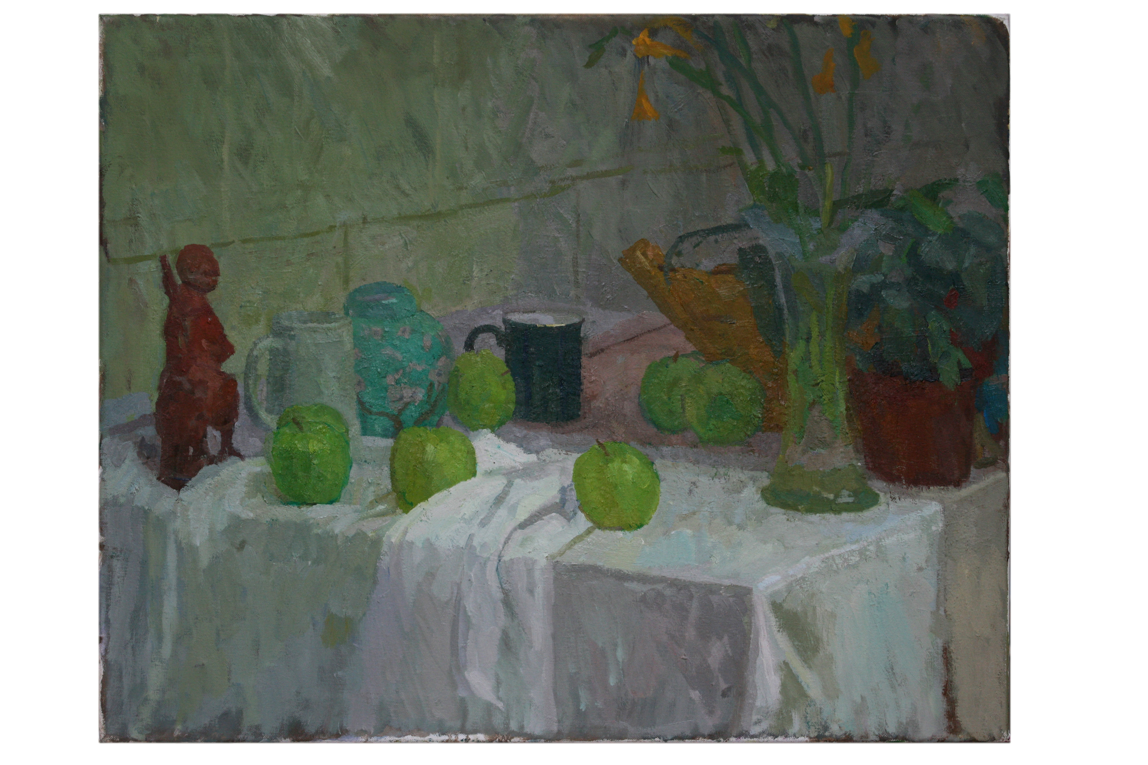 Oil on Canvas. Still life with green mug