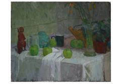Still life with green mug