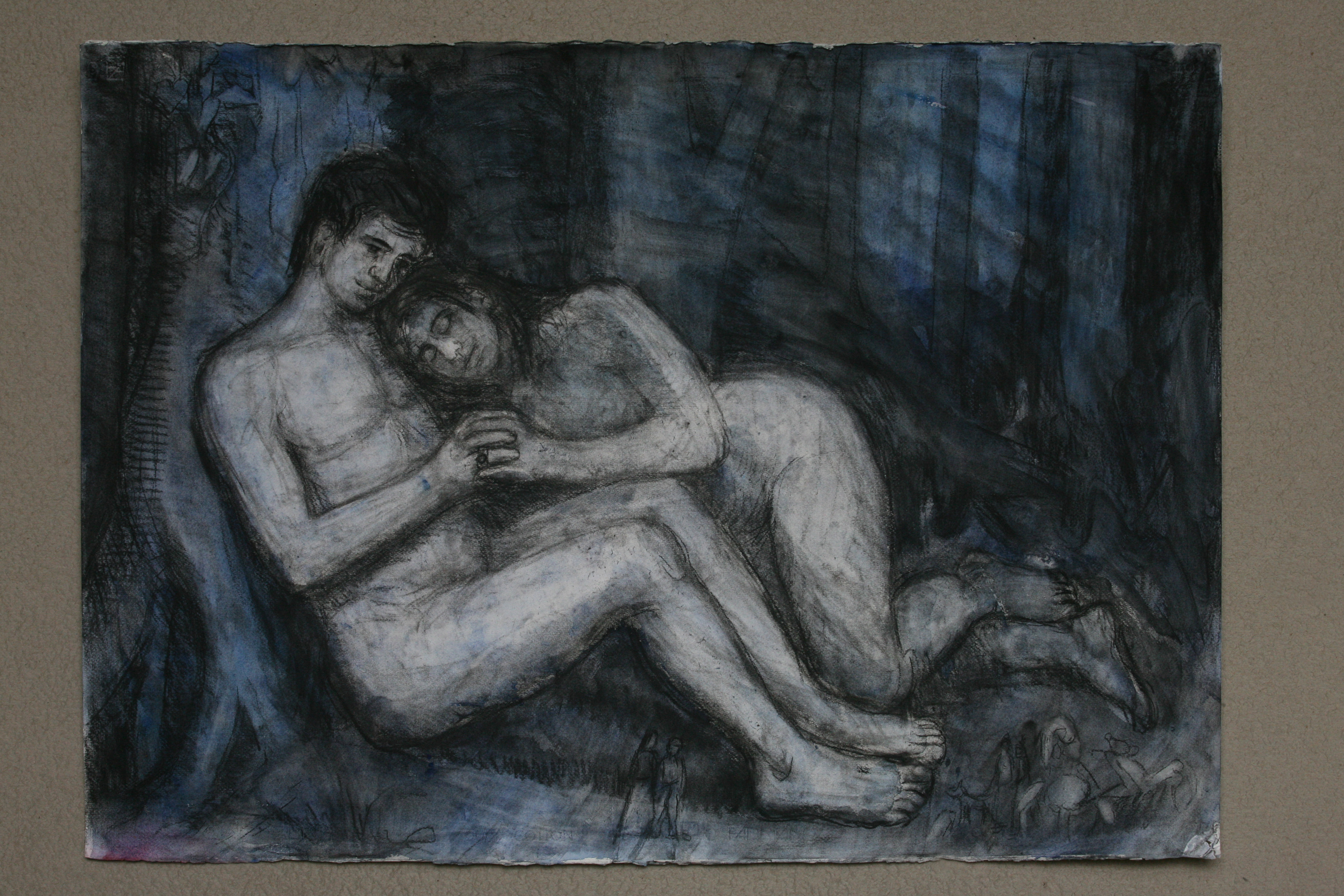 Charcoal and watercolour on Paper. We lay together.
