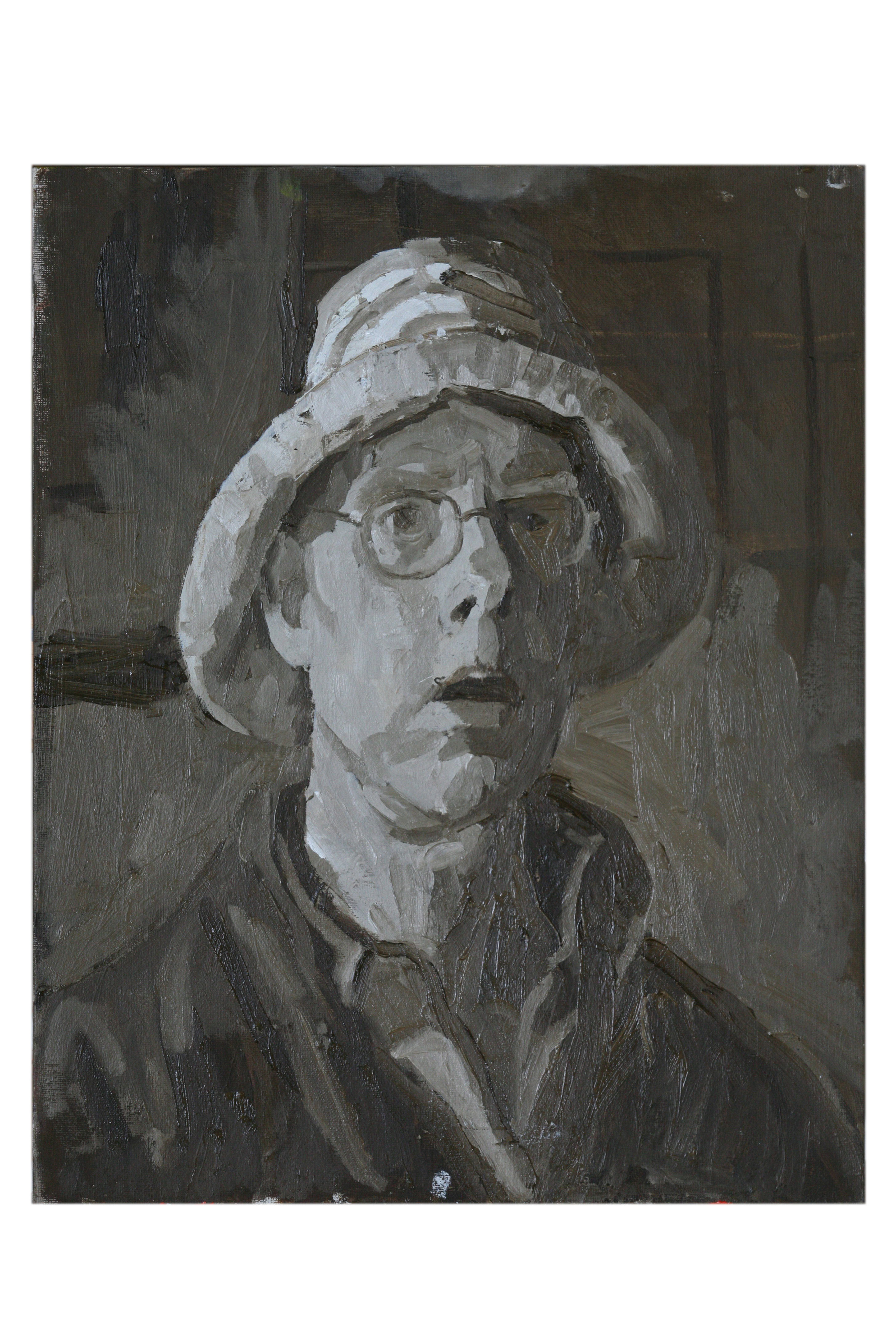 Oil on Canvas. Self portrait with straw hat