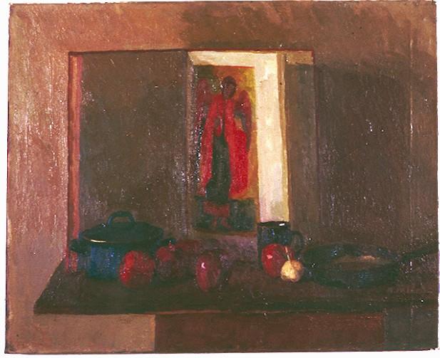 Oil On Canvas. Still Life with Angel & Garlic.