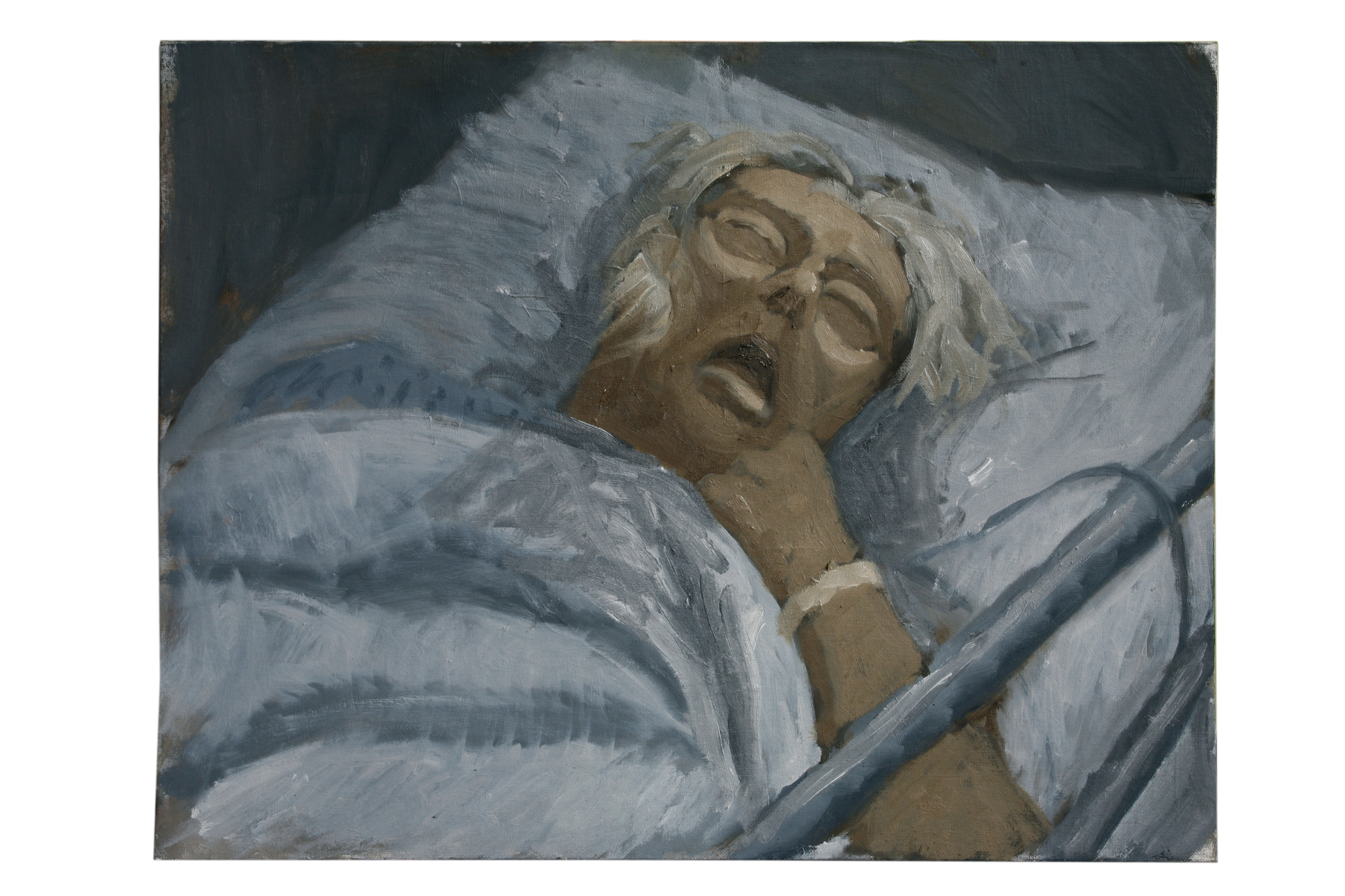 Oil on Canvas.Mum afer her stroke aged 90.