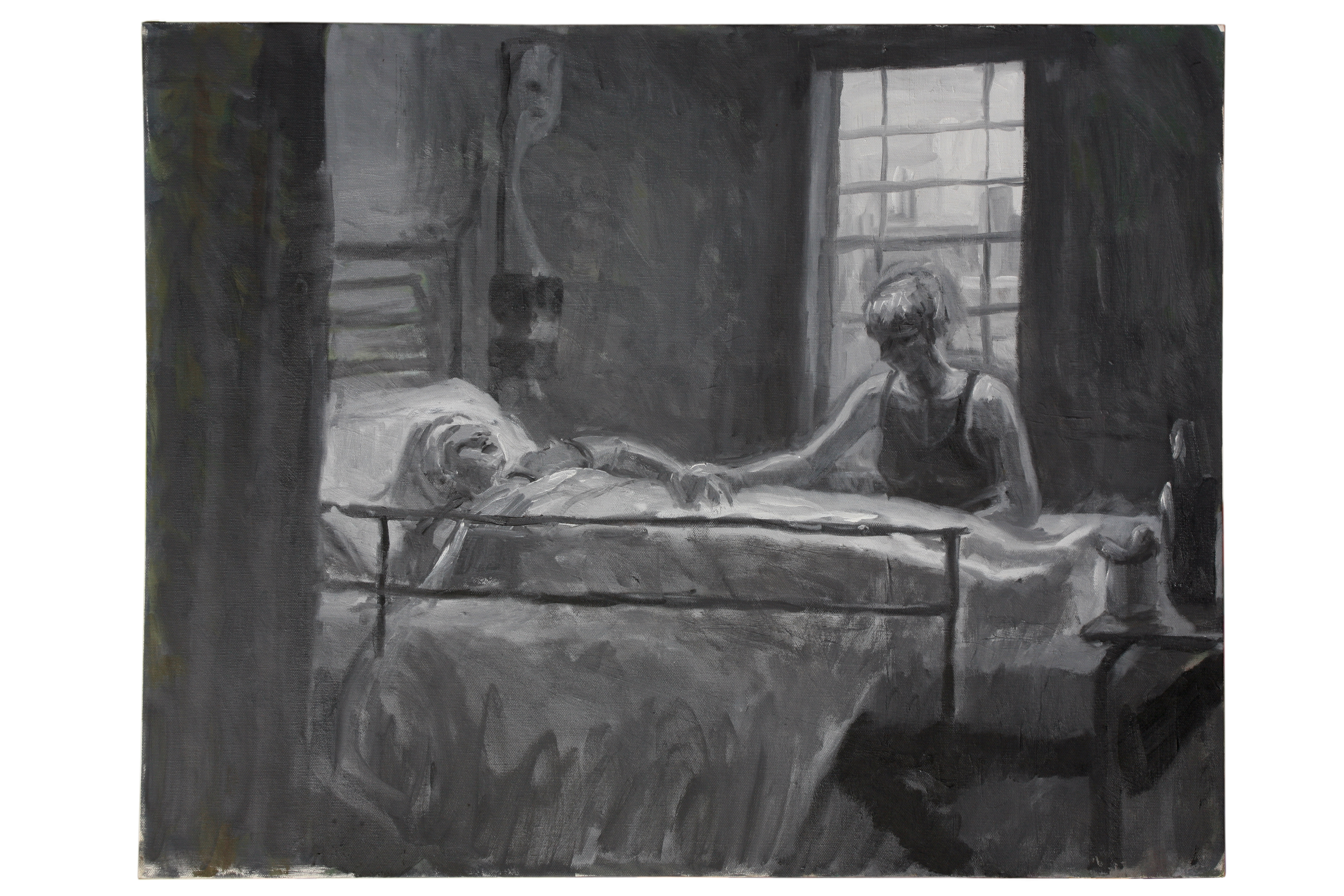 Oil on Canvas. Mum in Dorcheter Hospital after Stroke