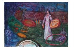 Watercolour on paper.Wandering Minstrel