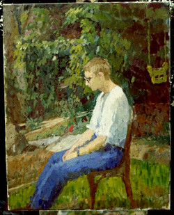 Oil on Canvas. David in the garden.