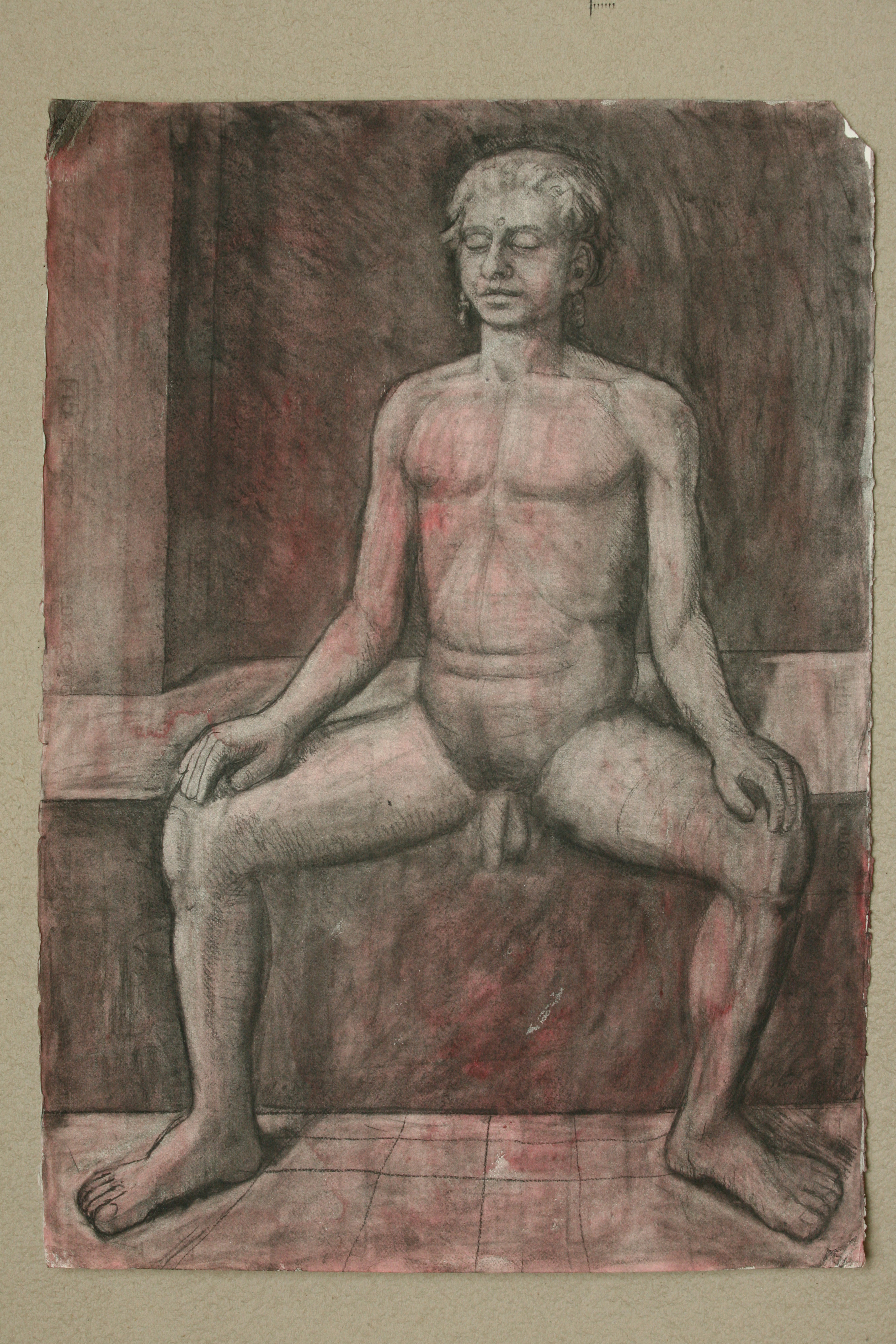 Charcoal and watercolour on Paper. Seated young man.