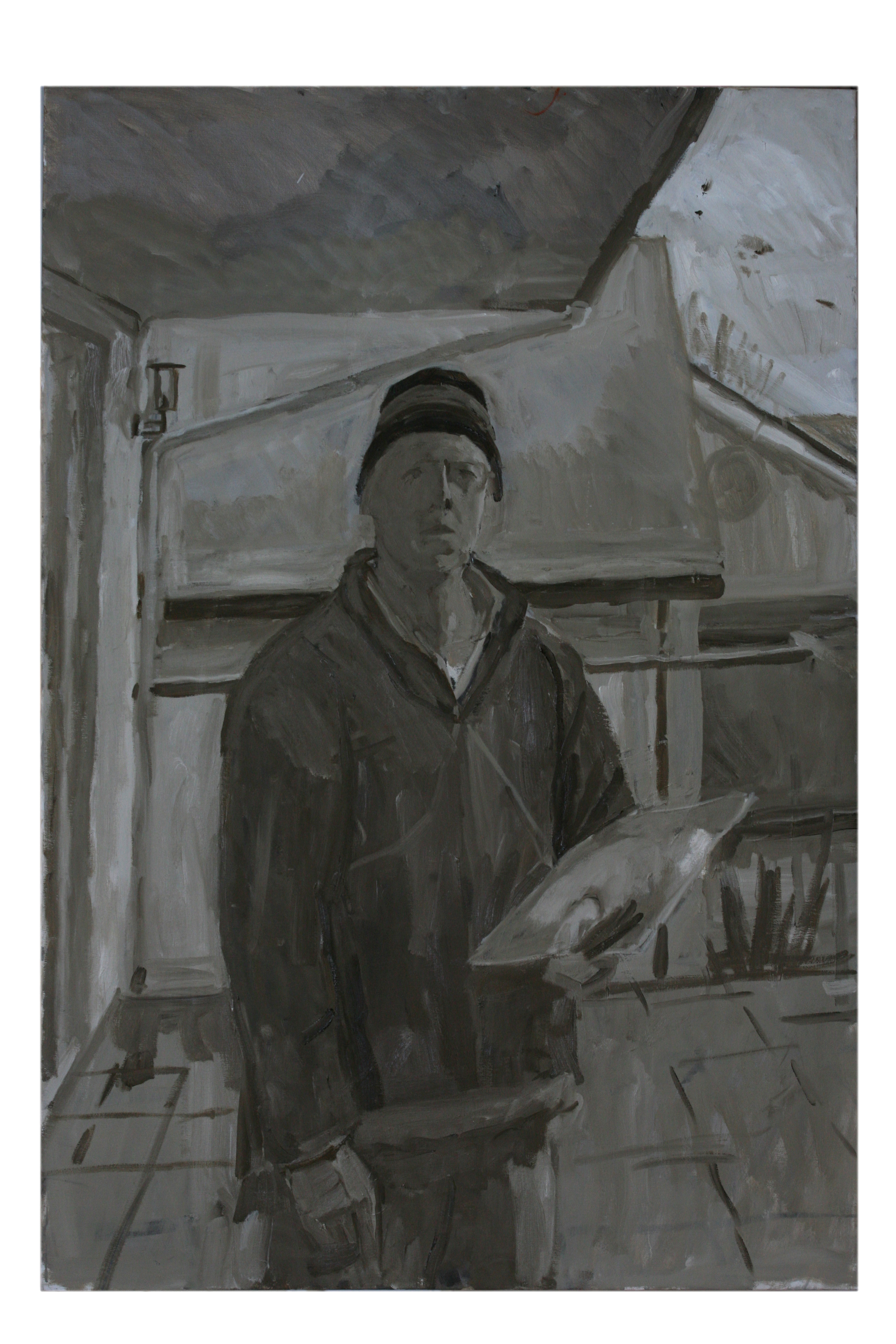 Oil on Canvas. Self portrait on the Terrace in winter