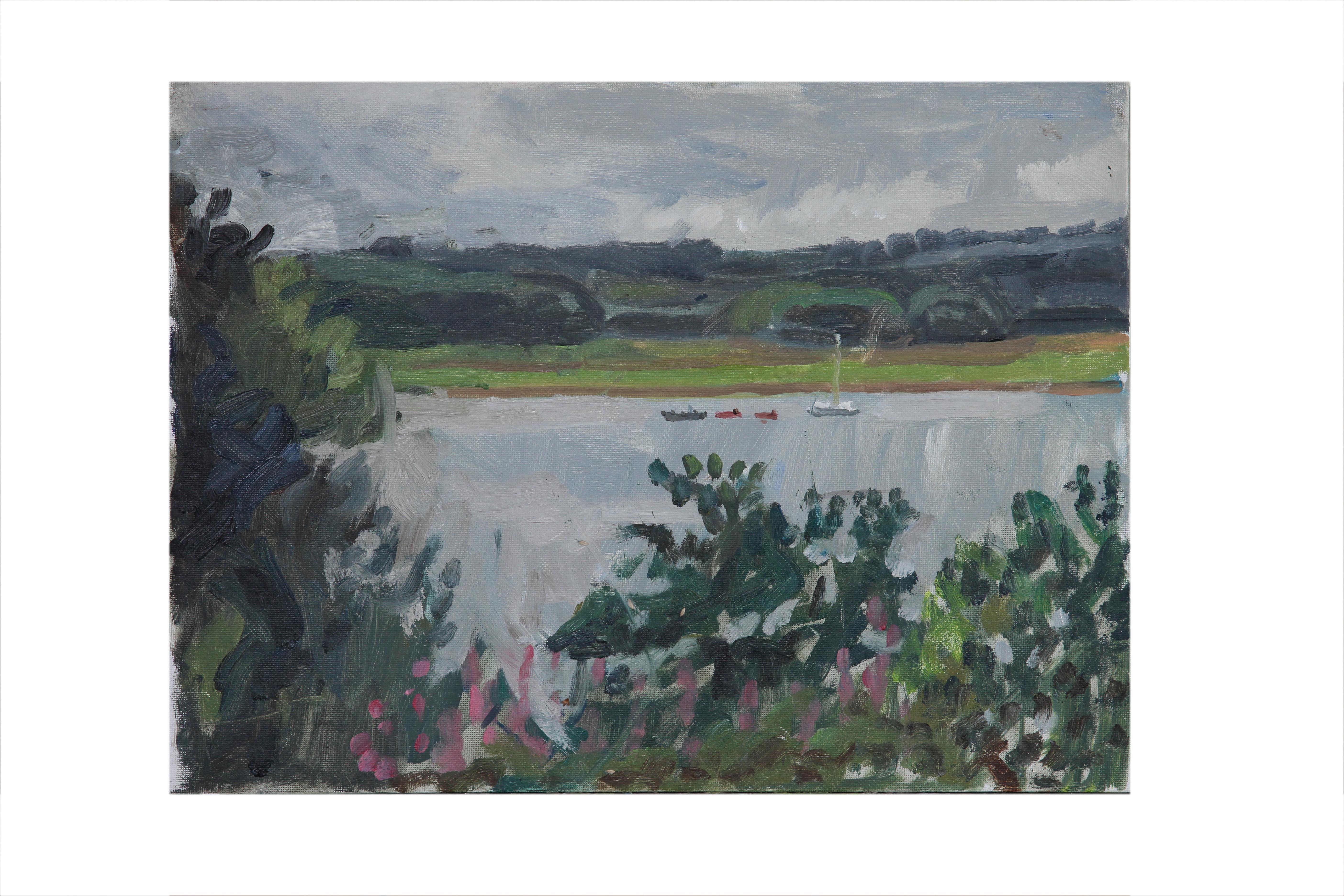 Across Roadford lake,grey day.
