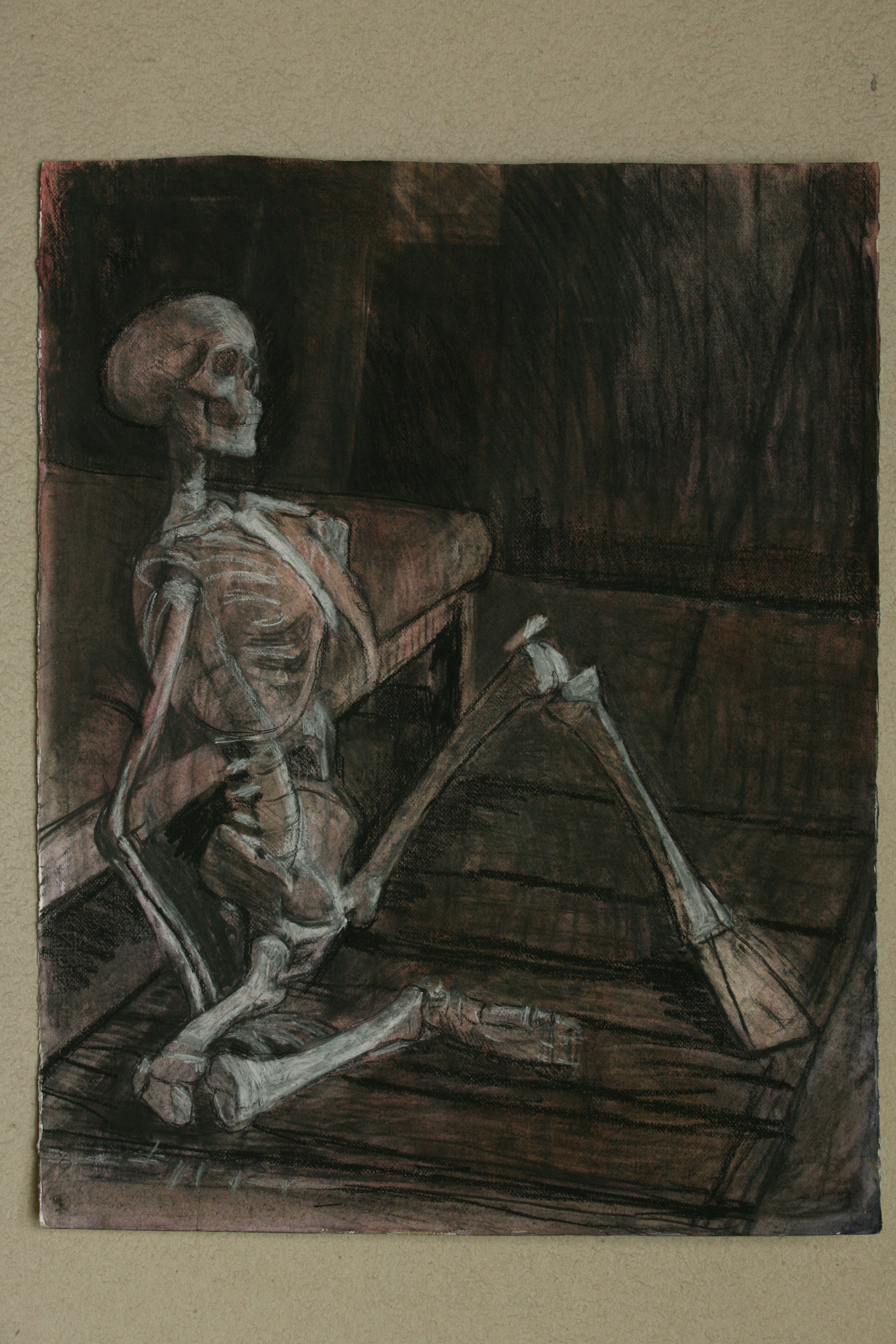 Oil pastel, watercolour and Charcoal on Paper. Skeleton in the Studio 4