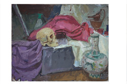 Skull with purple and pink cloth