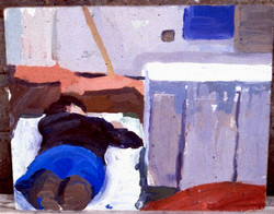 Oil on Board. Reclining Clothed figure