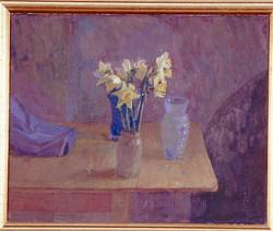 Oil on Canvas. Daffodils Bridge House.