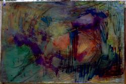 Oil Paint and Oil pastel on paper. Splash