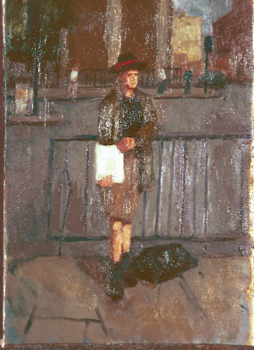 Oil on Canvas.Big Issue seller outside Bethnal Green Station.
