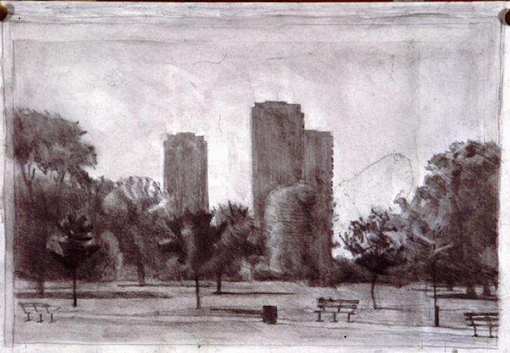 Pencil and watercolour.Flats victoria Park