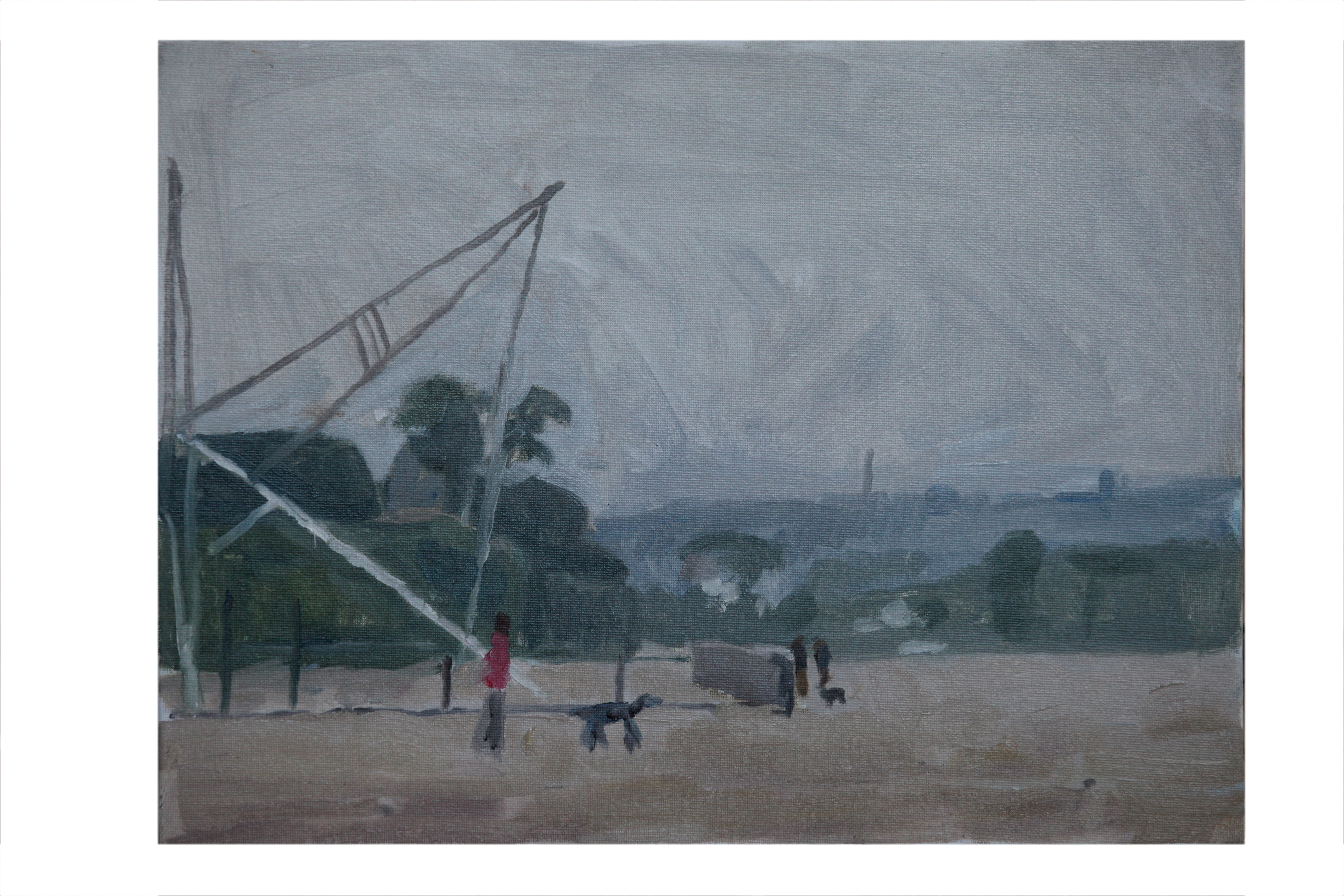 Beach at Morgat looking south ,early morning.Oil on Board