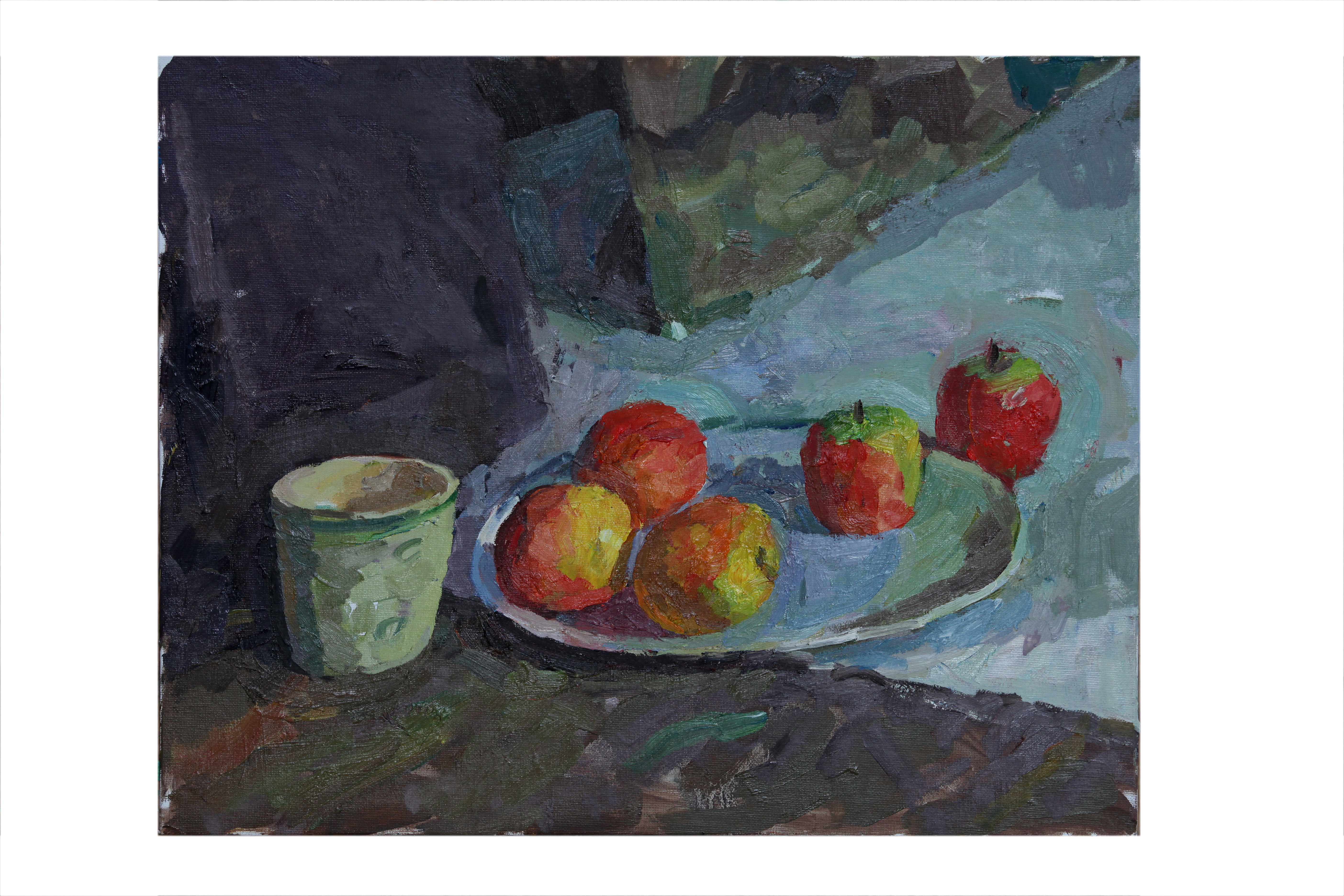Apples and Mug with green stripe