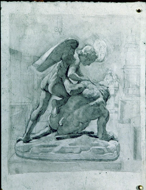 Pencil and Watercolour on Paper. Angel and Faun .V&A