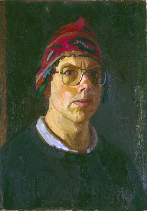 OIl on Canvas. Self portrait in Peruvian Hat
