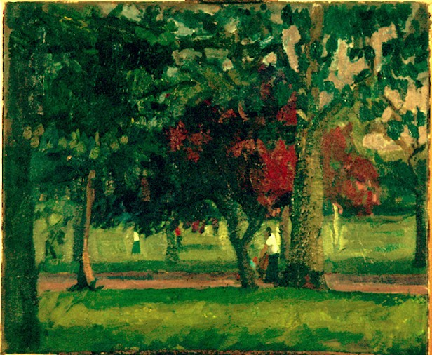 Oil on Canvas. Victoria Park Summer Trees.