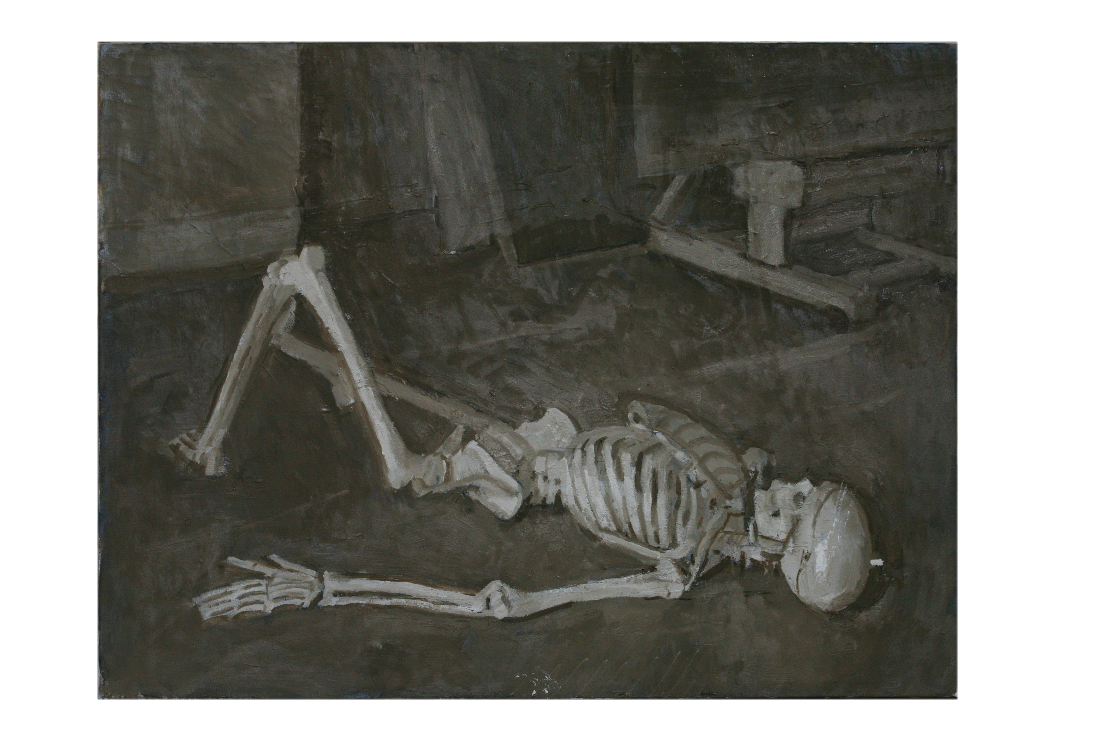 Oil on Canvas.Reclining Skeleton