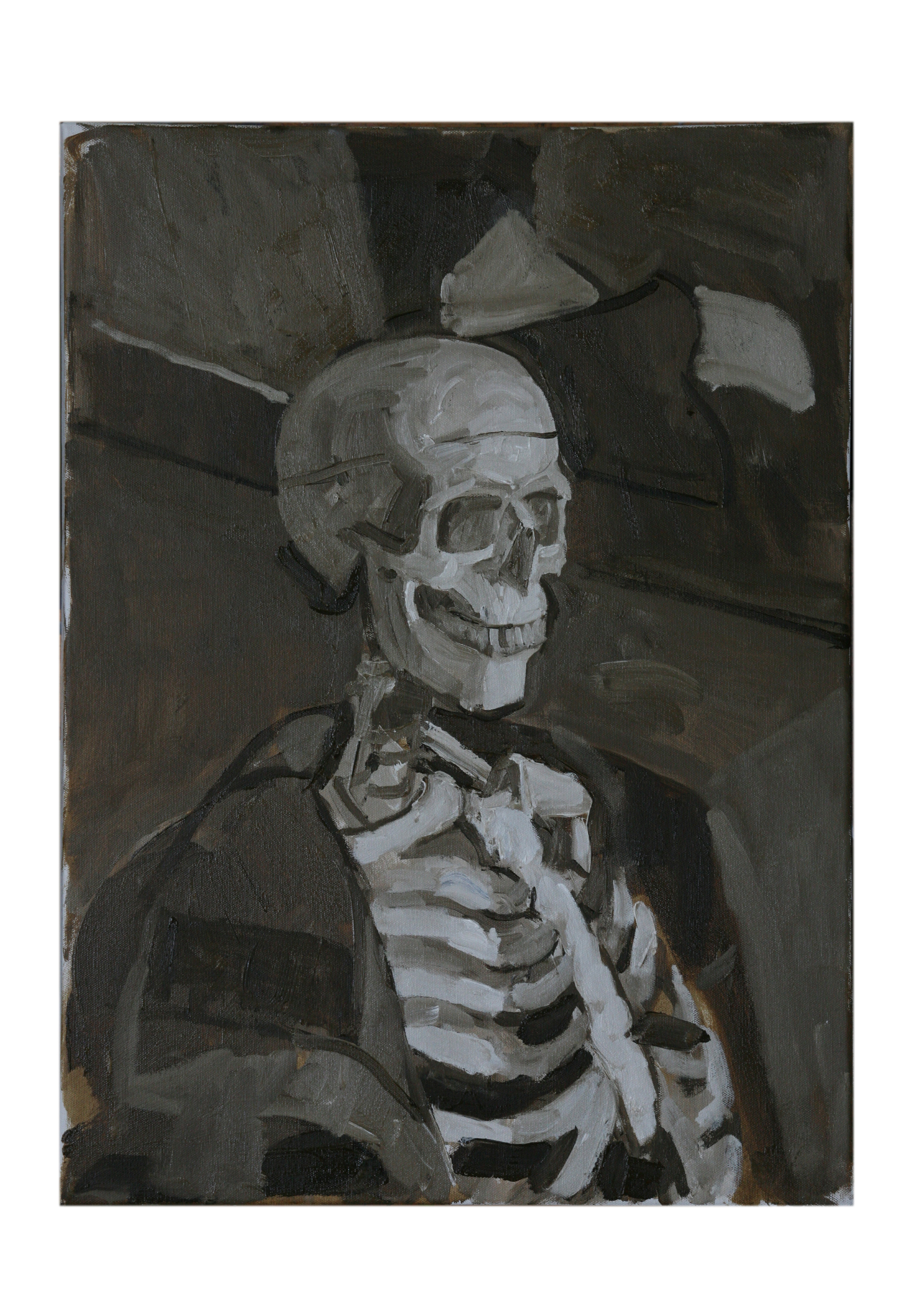 Oil on Canvas. Skeleton In the Studio 2