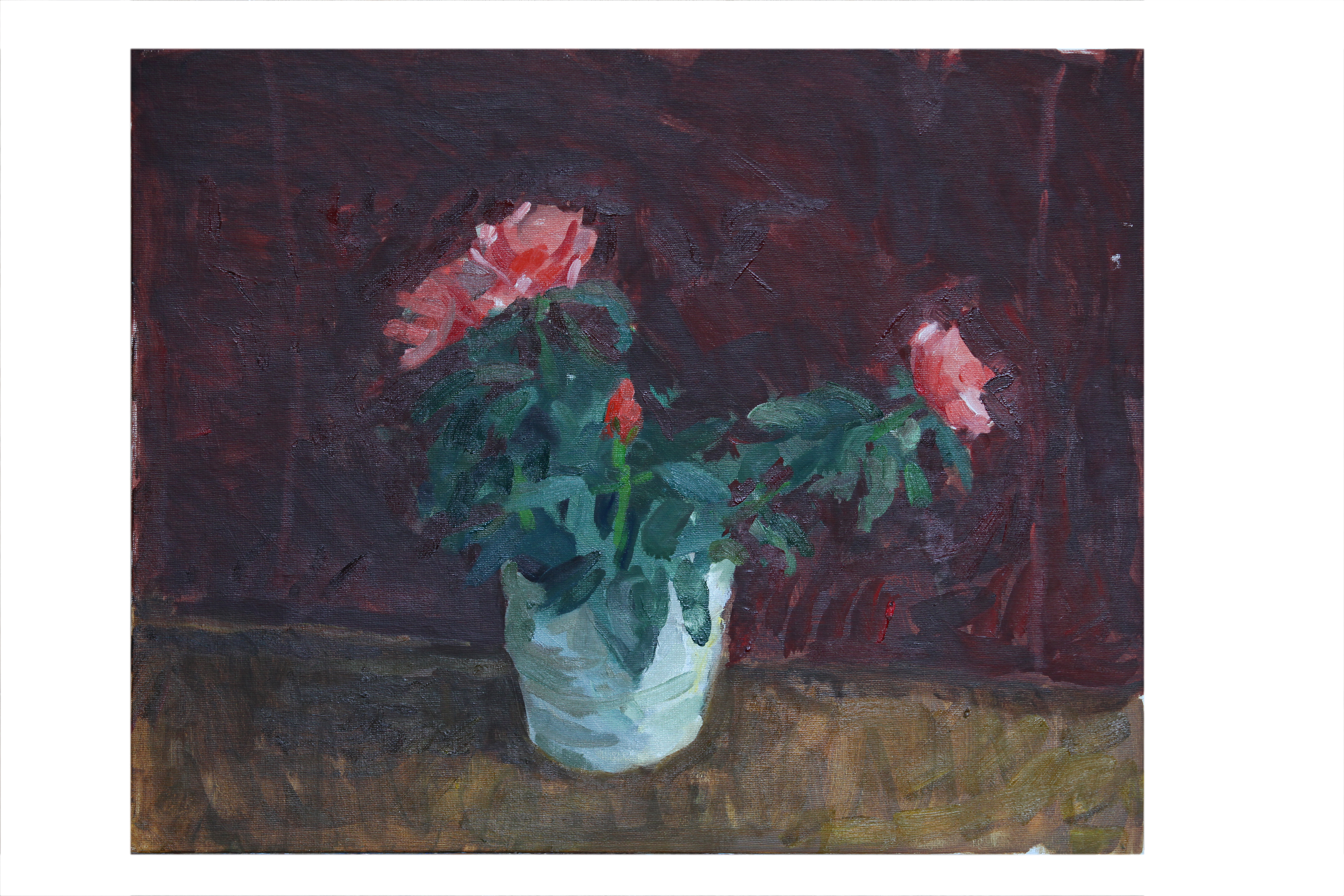 Roses against Maroon