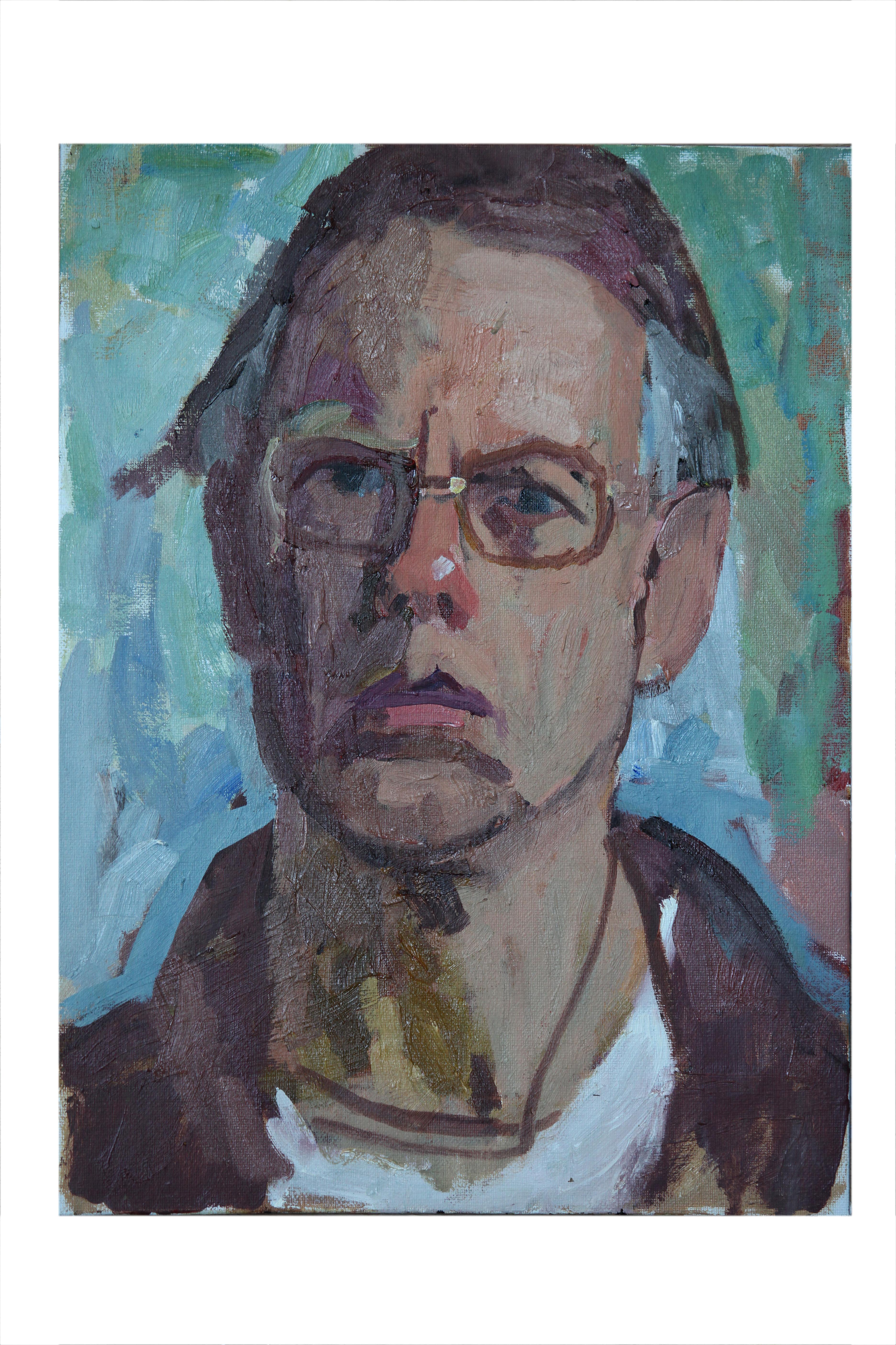 """Self portrait 16""""x12"""" Oil on Board"""