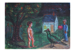 Watercolour and Oil pastel. Child with a Crow