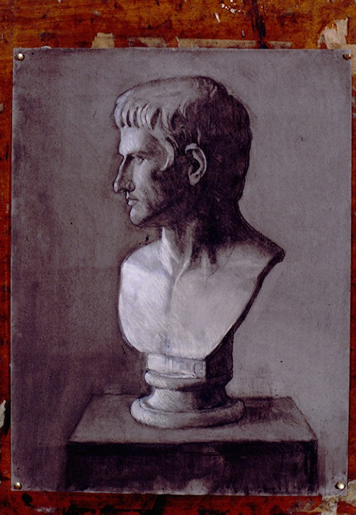 Charcoal on Paper. Plaster Caste of Augustus